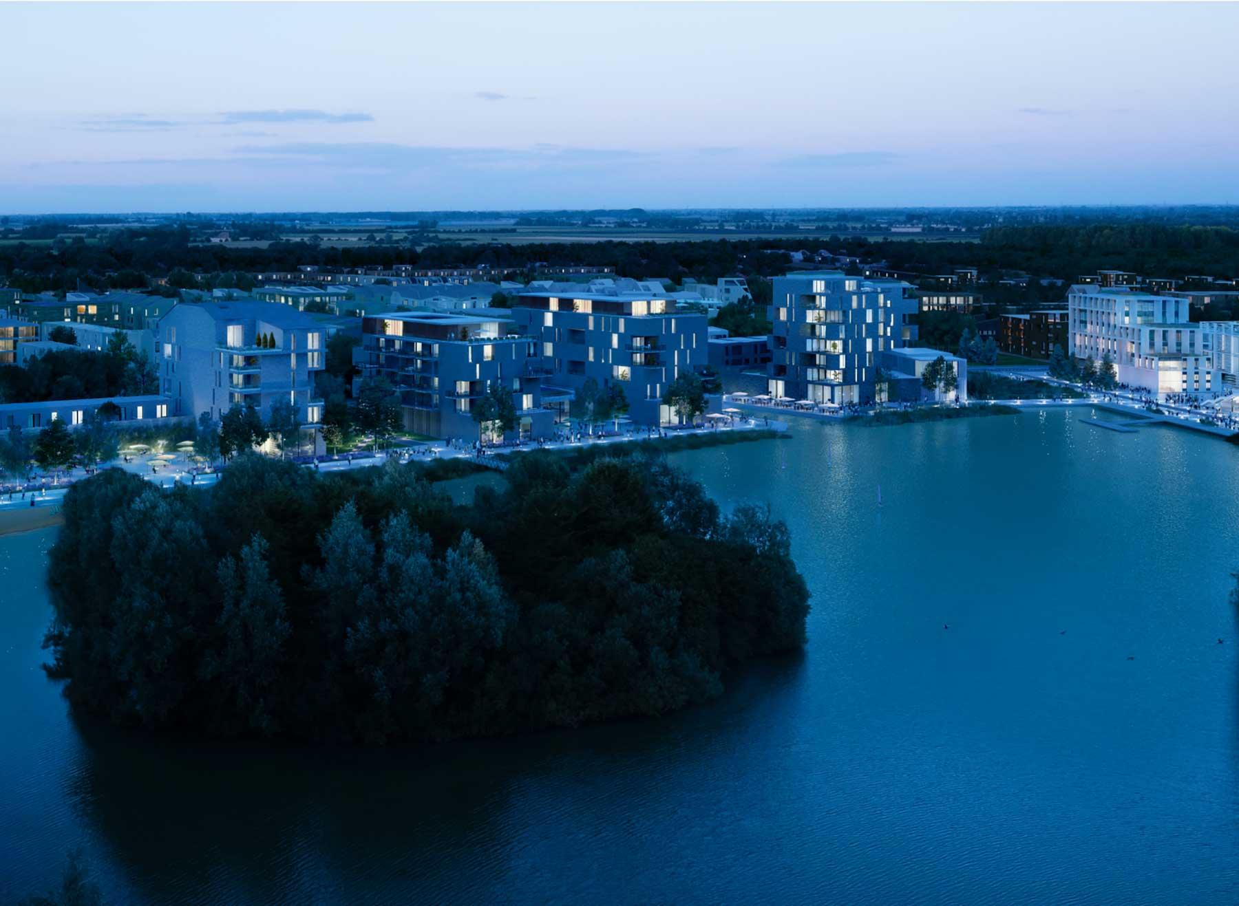waterbeach lake at night