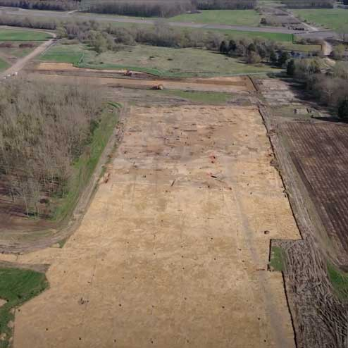 Ariel view of archaeology at Wintringham
