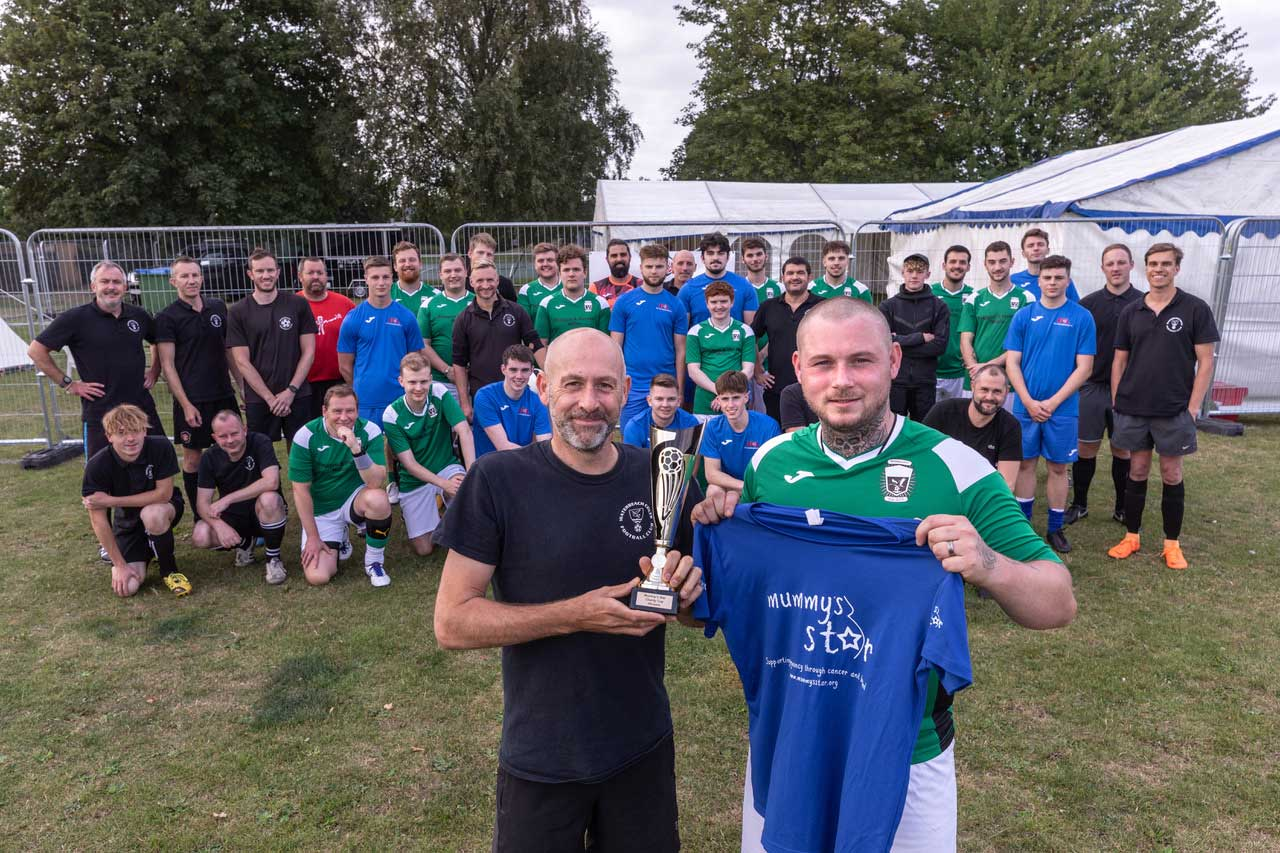 charity football match at beer festival
